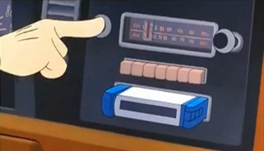 Goofy pressing play on a cassette player in his car.
