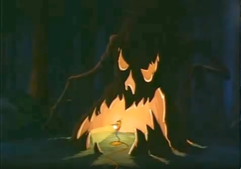 Lampy rests under a spooky tree in The Brave Little Toaster.